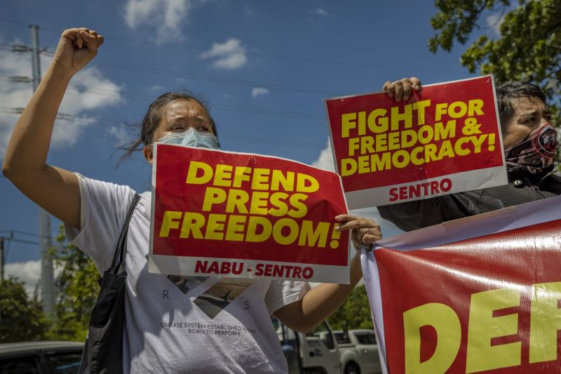 Workers and supporters of the ABS-CBN broadcaster stage a protest in the Philippines