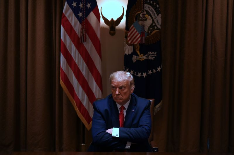 U.S. President Donald Trump sits in the cabinet room at the White House on July 9 in Washington, DC.