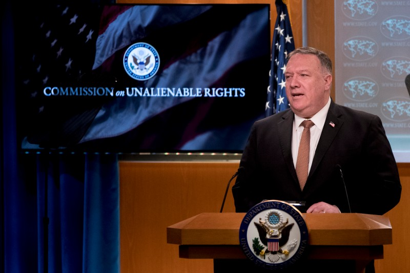Secretary of State Mike Pompeo speaks at the State Department.