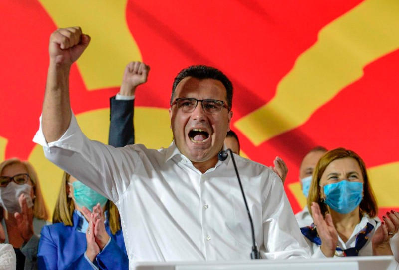 Zoran Zaev, leader of the ruling Social Democratic Union party, celebrates victory in the general elections in Skopje, North Macedonia, on July 16.