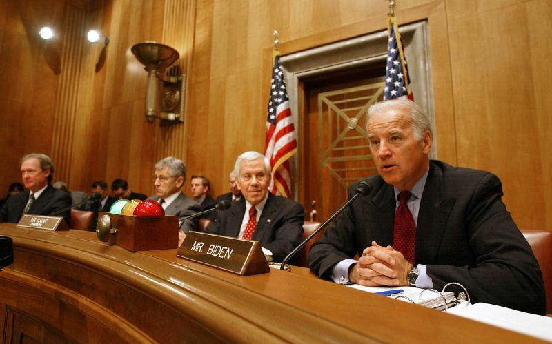Senator Joseph Biden makes remarks during a Senate Foreign Relations Committee Hearing on Capitol Hill April 7, 2004 in Washington.