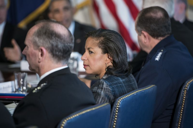 National Security advisor Susan Rice and others listen while U.S. President Barack Obama makes a statement to the press after a meeting with commanders at the Pentagon Oct. 8, 2014 in Washington.