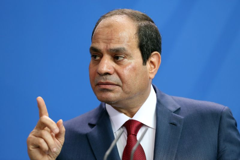 Egyptian President Abdel Fattah el-Sisi speaks during a news conference with German Chancellor Angela Merkel on June 3, 2015 in Berlin, Germany.