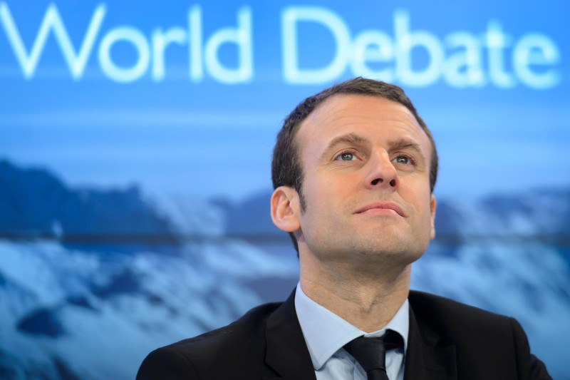 French Finance Minister Emmanuel Macron gestures during a session at the World Economic Forum (WEF) annual meeting in Davos, on Jan 22, 2016.