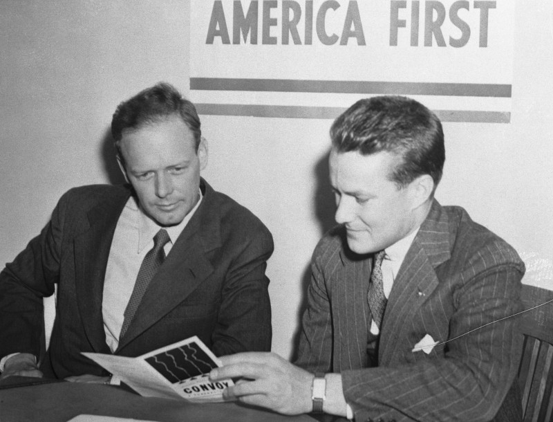 Charles Lindbergh (left), with R. Douglas Stuart Jr., the founder of the America First Committee, when the flyer enrolled as a member in Chicago in 1940.