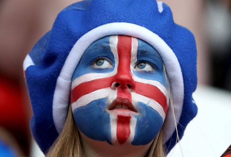 A supporter of Iceland cheers the Group C match between Iceland and Austria during the UEFA Women's Euro 2017 at Sparta Stadion on July 26, 2017 in Rotterdam, Netherlands.