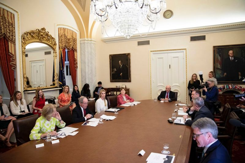 A roundtable discussion is held with the Senate Foreign Relations Committee's subcommittee on the U.S. strategy for implementing the Women, Peace, and Security Act, on Capitol Hill on June 11, 2019.