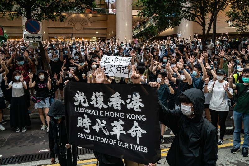 Demonstrators take part in a protest against the new national security law on July 1, 2020 in Hong Kong, China.
