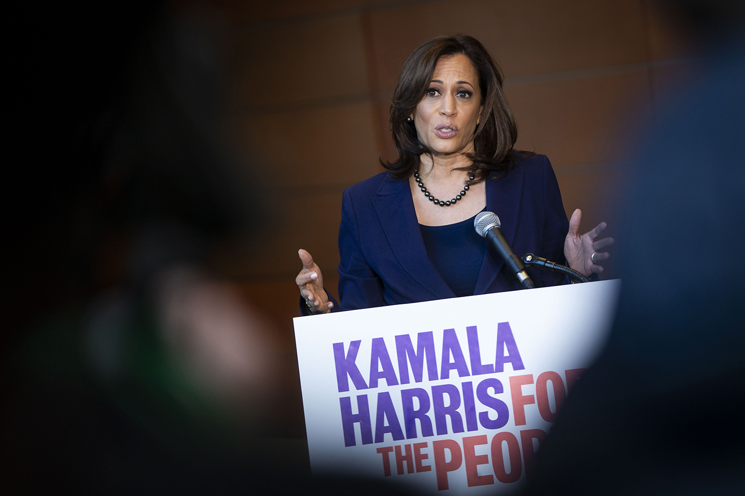 U.S. Sen. Kamala Harris speaks to reporters after announcing her candidacy for president at Howard University in Washington on Jan. 21, 2019.