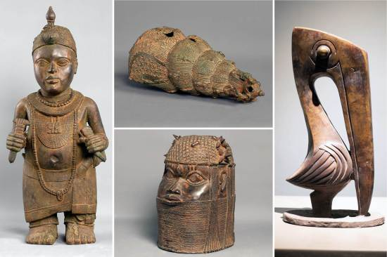 A private museum funded by Yemisi Shyllon, one of Africa's biggest art collectors, recently opened in Lagos, Nigeria. It houses more than 1,000 artworks, including (clockwise from left): a full-length, bronze-clad royal figurine of the Ooni of Ife, dated to the 14th-century Ife Kingdom in Nigeria; an Igbo-Ukwu bronze ceremonial vessel dated to the 10th century; a bronze pelican by the Nigerian sculptor Ben Osawe; and a Benin royal head dated to the 15th- or 16th-century Benin Kingdom in Nigeria.