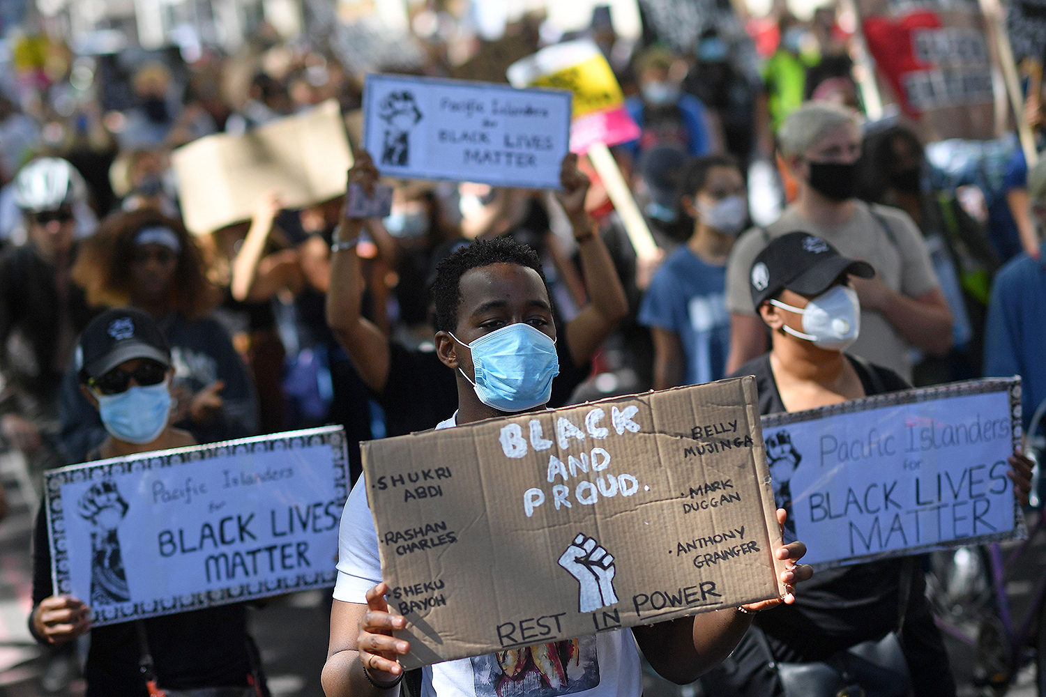 Protesters march down Park Lane in London on July 5 in support of the Black Lives Matter movement. JUSTIN TALLIS/AFP via Getty Images