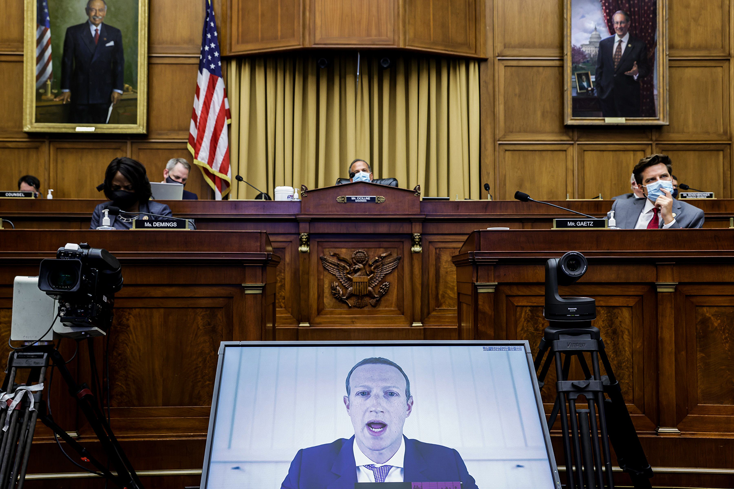 Facebook CEO Mark Zuckerberg testifies before the House Judiciary Subcommittee on Capitol Hill in Washington on July 29. GRAEME JENNINGS/POOL/AFP via Getty Images