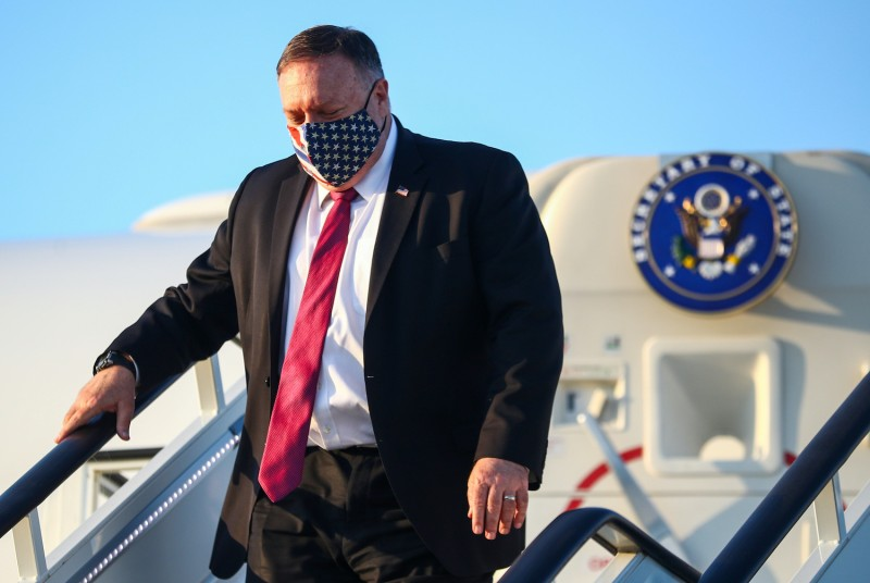 U.S. Secretary of State Mike Pompeo steps down from his plane upon arrival in London on July 20, 2020.