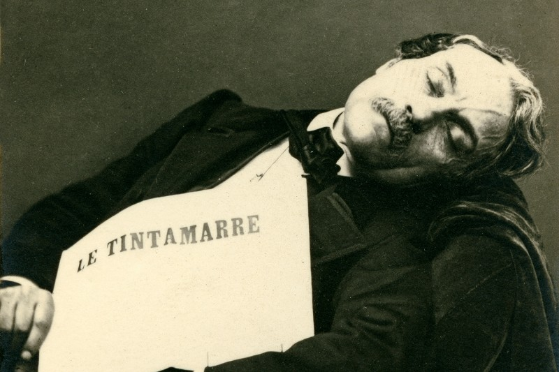 A French journalist takes a nap circa 1860