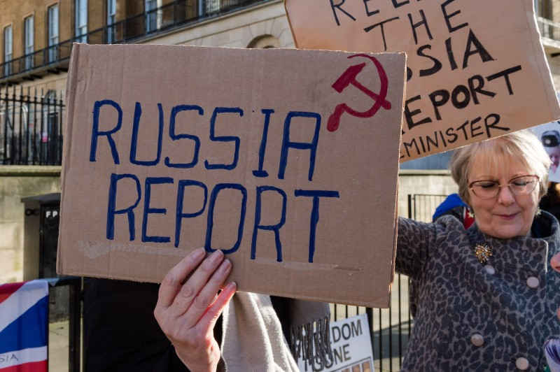 Anti-Brexit supporters protest outside Downing Street in Westminster, urging Prime Minister Boris Johnson to release the report from the Intelligence and Security Committee examining Russian infiltration in British politics, in London on Jan. 18.