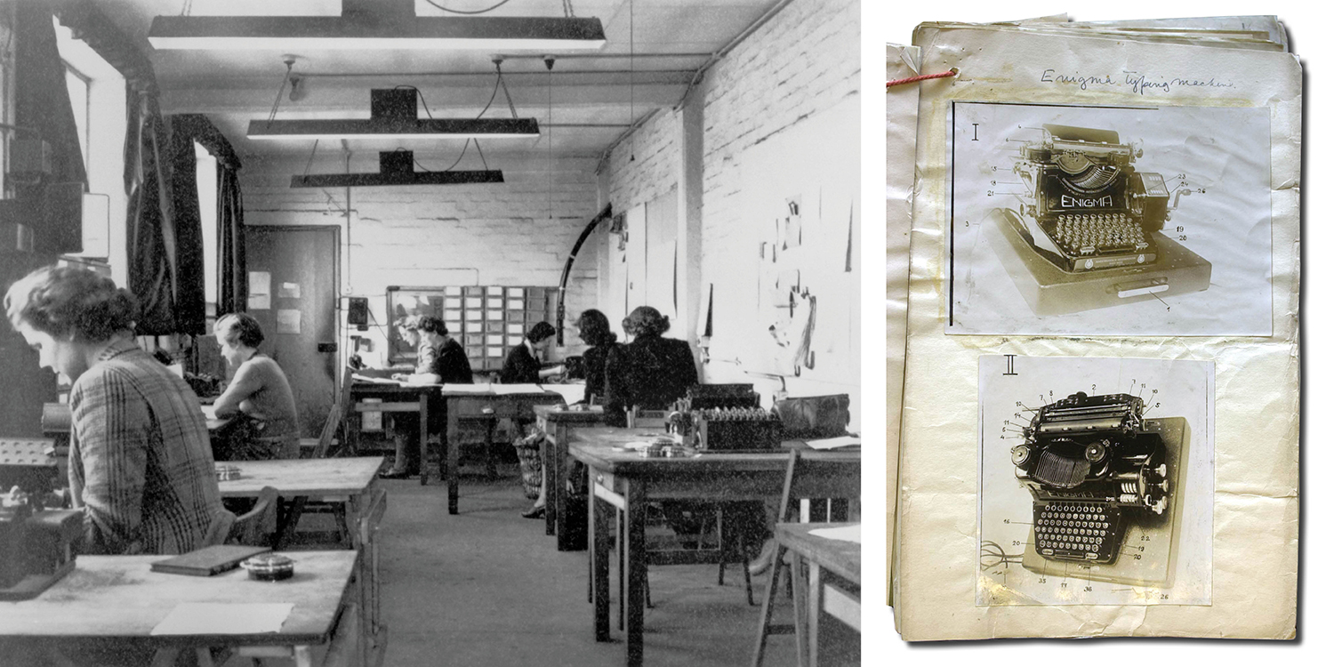 Left: The machine room in Hut 6 of Bletchley Park, the British forces' intelligence center during World War II, in 1943. Right: Photos from a GCHQ file of the Enigma code-breaking machine.