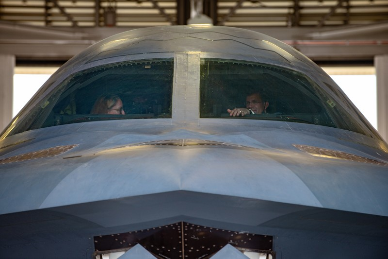 U.S. Secretary of Defense Mark Esper receives a tour of a B-2 Spirit stealth bomber at Whiteman Air Force Base, Missouri, on July 22.
