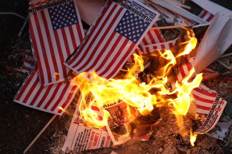 U.S. Flag Burning Protest