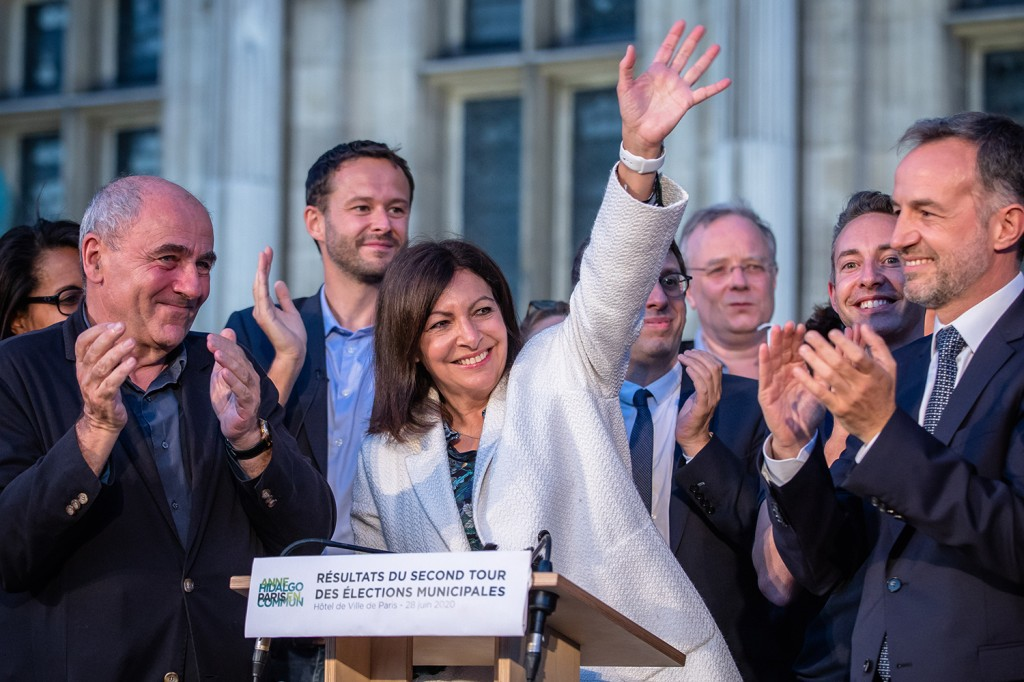 Anne Hidalgo, the incumbent mayor of Paris and member of the French Socialist Party, celebrates after winning the second round of the French Municipal elections in Paris on June 28. Aurelien Morissard/Xinhua via Getty Images