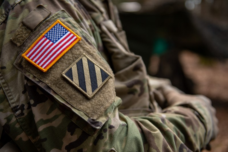 A soldier wears a U.S. flag on his uniform during the Allied Spirit X international military exercises at the U.S. 7th Army training center on April 9, 2019 near Hohenfels, Germany.