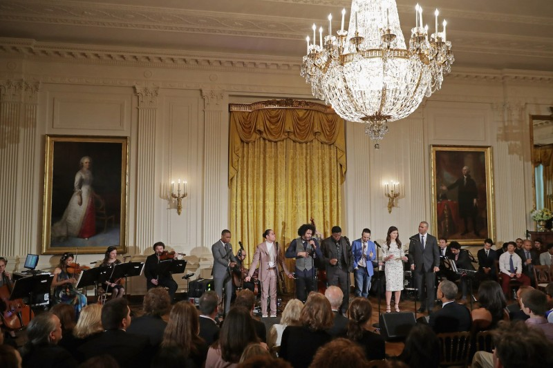 Members of the Broadway cast of 'Hamilton,' perform music from the production for President Barack Obama, first lady Michelle Obama, and other guests in the East Room of the White House on March 14, 2016 in Washington.