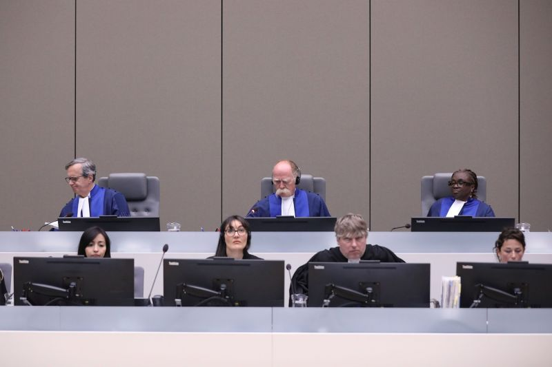 Judges sit in the courtroom at the International Criminal Court (ICC) in The Hague, The Netherlands, on July 8, 2019.