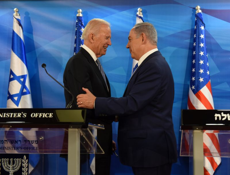 Then-U.S. Vice President Joe Biden and Israeli Prime Minister Benjamin Netanyahu meet in Jerusalem on March 9, 2016.
