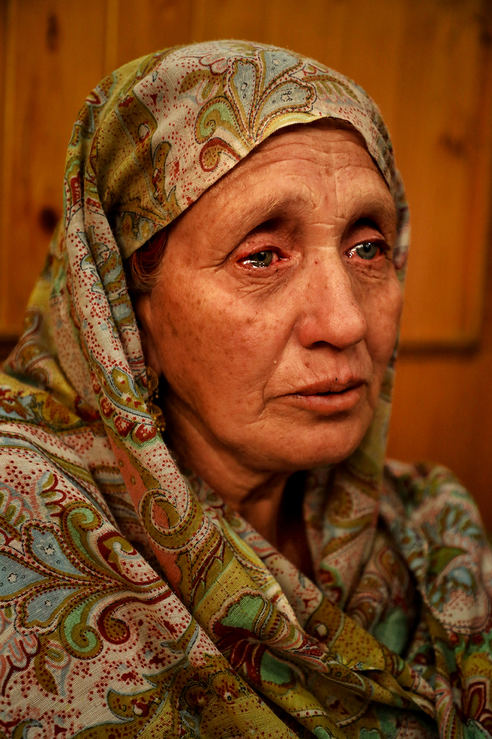 Javaida Ahmad mourns her husband in Nawakadal on May 31. Manzoor Ahmad died in the explosion in Srinagar, leaving his wife to care for her mother and six daughters. Her husband was the only male member of his family.