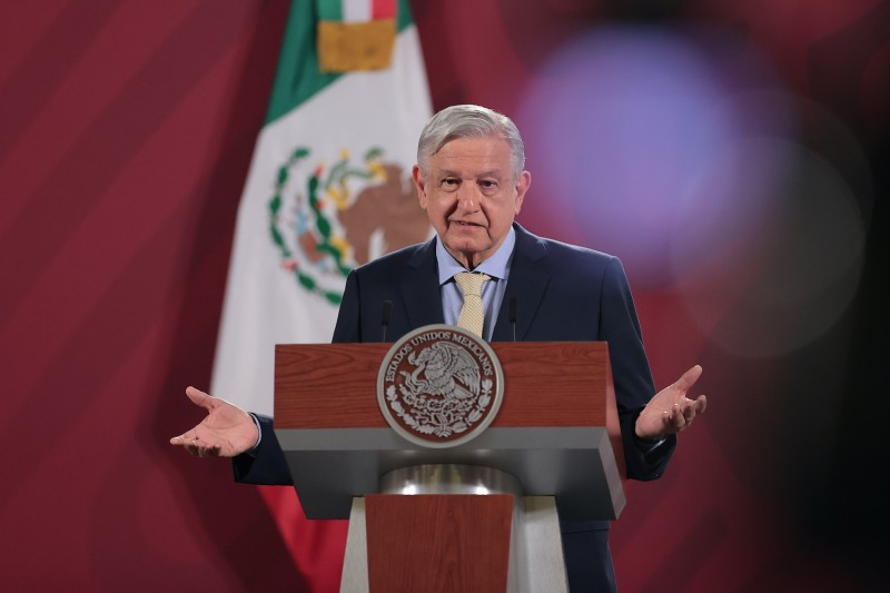 President of Mexico Andres Manuel Lopez Obrador gestures during his daily morning briefing on June 10, 2020 in Mexico City, Mexico.