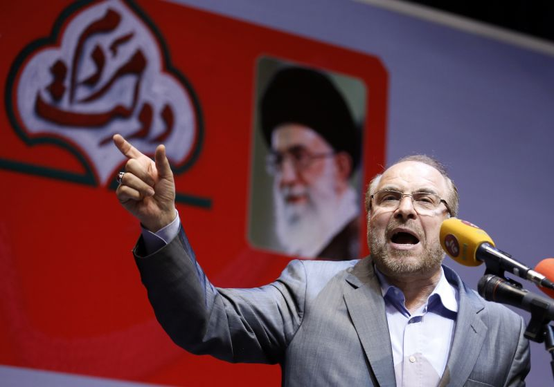 Mohammad Bagher Ghalibaf gives an address during the 2017 Iranian presidential election.