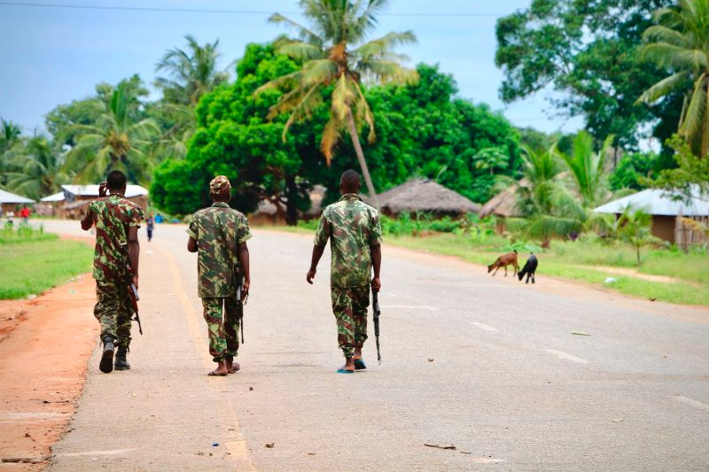 Soldiers from the Mozambican army patrol Mocimboa da Praia, Mozambique, on March 7, 2018, following October's two-day attack by suspected Islamists.