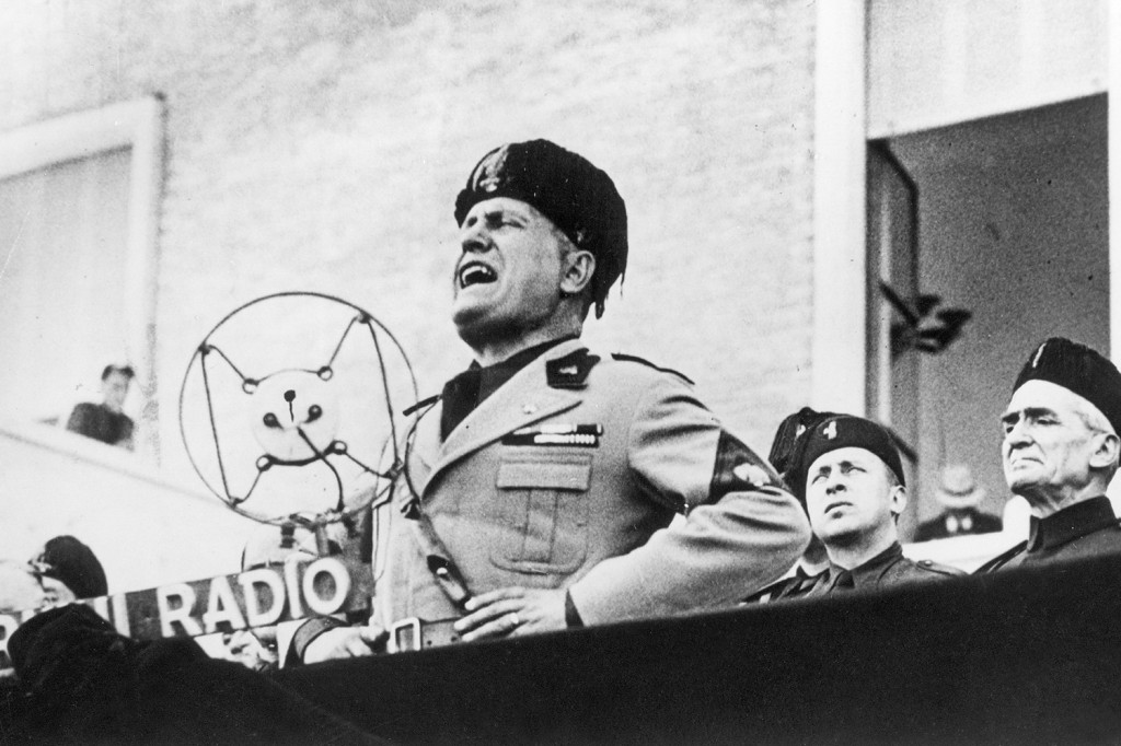 Italy's Benito Mussolini addresses a crowd in Rome on April 15, 1934.