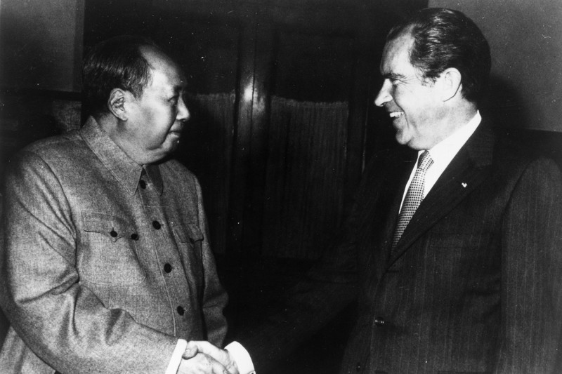 Chinese communist leader Chairman Mao Zedong shakes hands with U.S. President Richard Nixon in Beijing during Nixon's visit to China on Feb. 21, 1972.