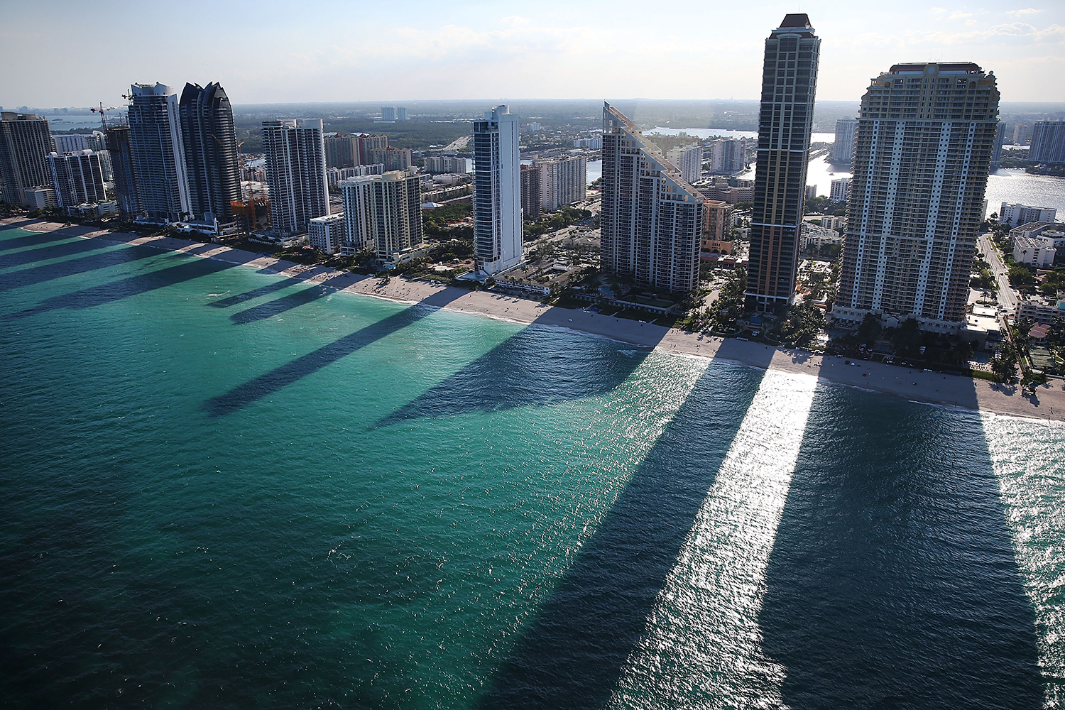 Condo buildings line the beach in Sunny Isle, Florida, on April 5, 2016. The Panama Papers found a possible tie between condo purchases in South Florida and secret offshore accounts in Panama, putting the United States among more than 50 countries using Panama as a tax haven.