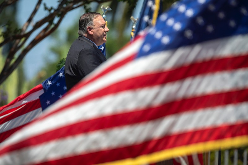 Secretary of State Mike Pompeo delivers a speech on Communist China and the future of the free world at the Richard Nixon Presidential Library on July 23, 2020 in Yorba Linda, California.