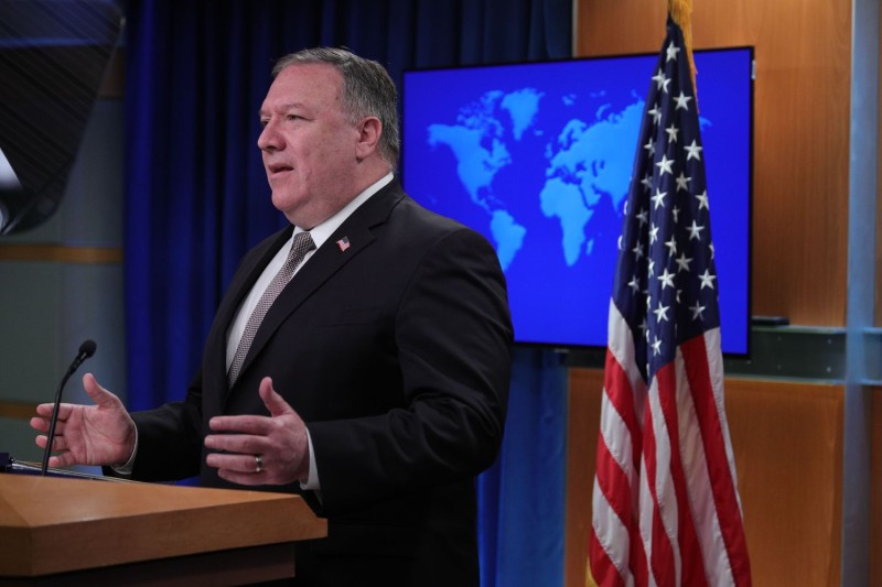 U.S. Secretary of State Mike Pompeo speaks during a news conference at the State Department in Washington on July 8.