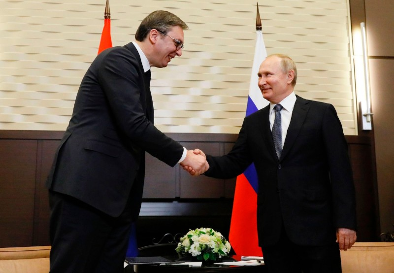 Russian President Vladimir Putin meets with his Serbian counterpart Aleksandar Vucic in Sochi on December 4, 2019.