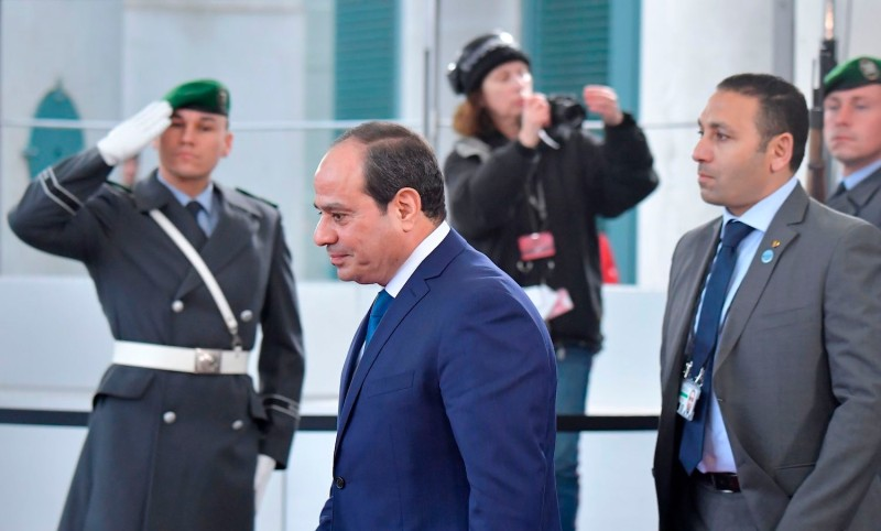 Egyptian President Abdel Fattah el-Sisi leaves after a meeting with German Chancellor Angela Merkel.
