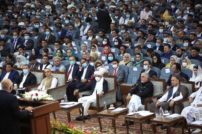 Representatives attend a Loya Jirga, or grand assembly, in Kabul, Afghanistan, on Aug. 7.