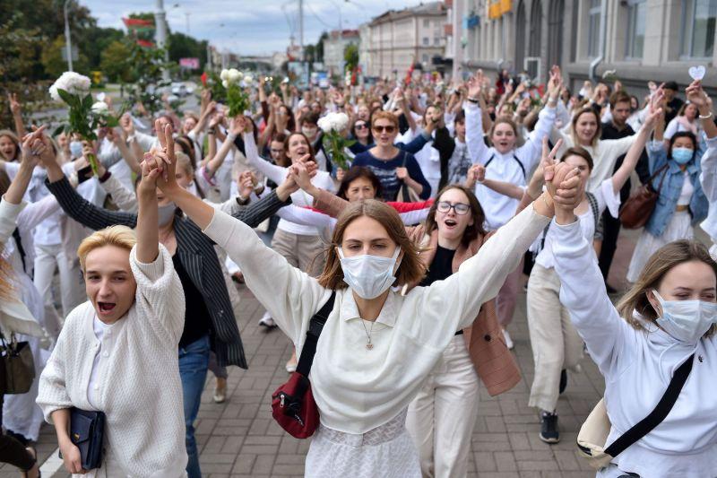 Women protest in Belarus