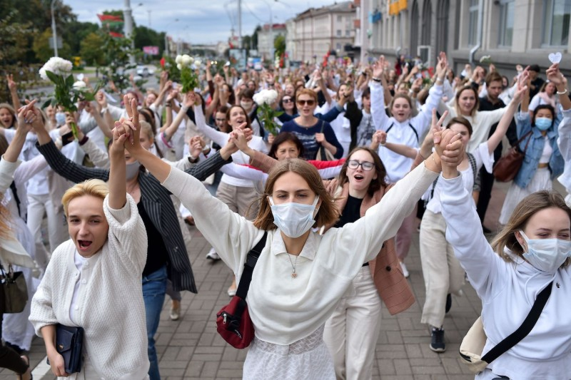 Women protest in Belarus