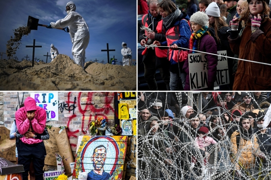 Scenes from 2020's crises, clockwise from left: Activists in Brazil dig 100 mock graves symbolizing deaths from COVID-19 in Rio de Janeiro on June 11 to protest against Brazil's governance during the pandemic; the Swedish climate activist Greta Thunberg takes part in a Youth Strike 4 Climate protest march in Brussels on March 6; migrants wait on the Turkish side of the Greece-Turkey border on March 2; and a couple hugs and cries next to a makeshift memorial to George Floyd, near the site where he died in police custody, in Minneapolis on June 6.