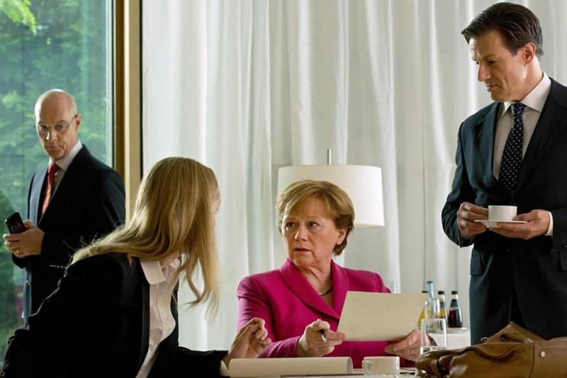 Imogen Kogge as Angela Merkel in Die Getriebenen. Volker Roloff/carte blanche/rbb