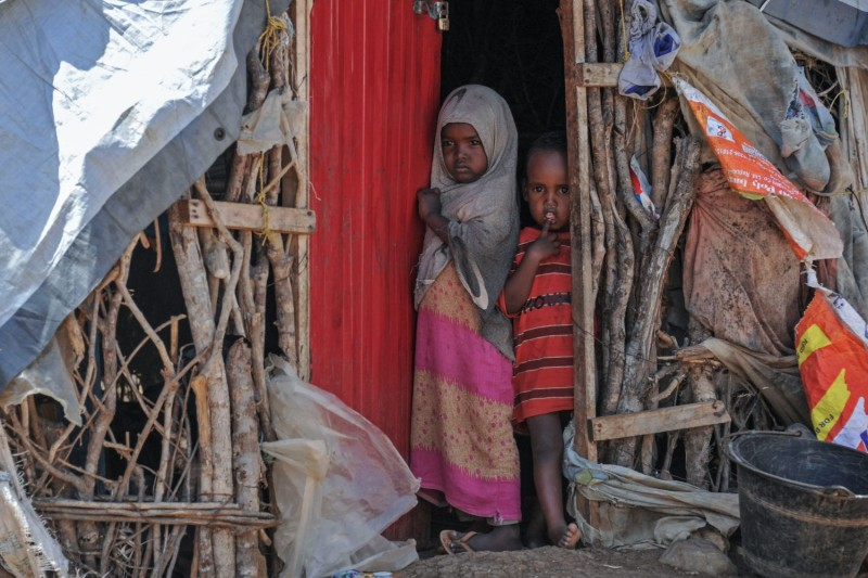 Somali children in a camp for displaced people after hundreds fled U.S. airstrikes against al-Shabab in Baidoa, autonomous South West State of Somalia, on Dec. 18, 2018.