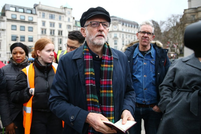 Then-Labour Party leader Jeremy Corbyn arrives at Trafalgar Square to speak at an anti-war rally in London on Jan. 11.