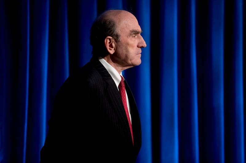 Special Representative for Venezuela Elliott Abrams appears as Secretary of State Mike Pompeo speaks during a news conference on March 31 in Washington. Abrams was chosen to succeed Brian Hook as U.S. Special Representative for Iran this week.
