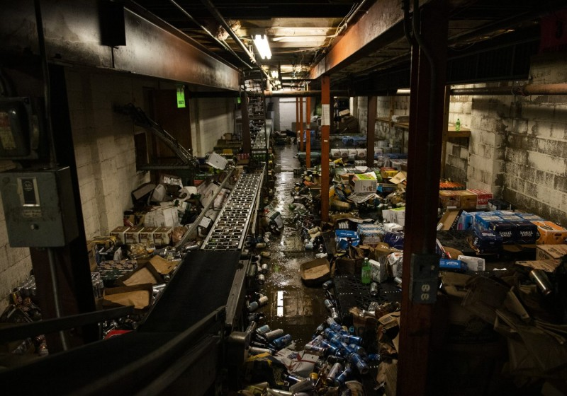 A view of the damage inside Chicago Lake Liquors on June 5, after it was looted during the protests and riots following the death of George Floyd in Minneapolis, Minnesota.