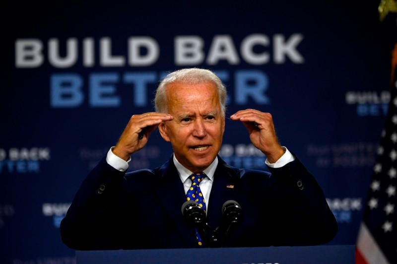 Former Vice President Joe Biden speaks during a campaign event in Wilmington, Delaware on July 28.
