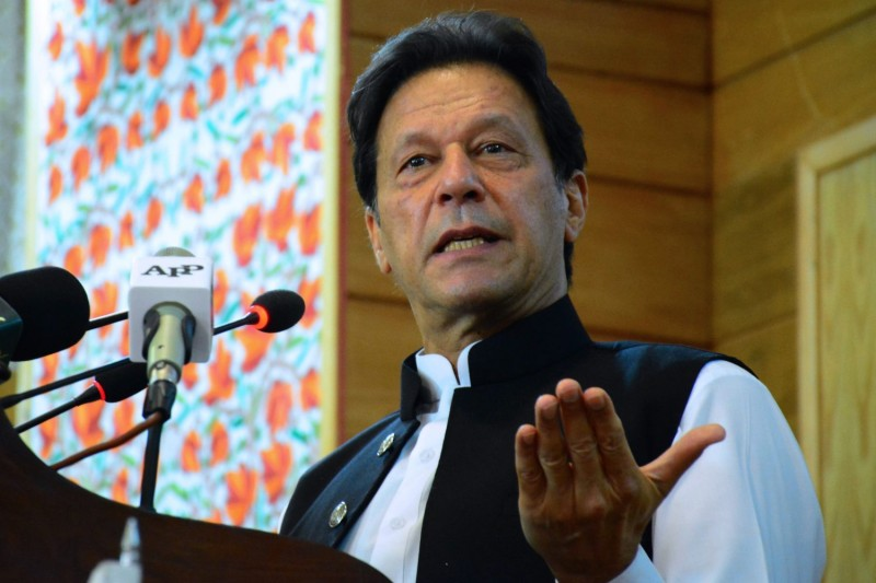 Pakistani Prime Minister Imran Khan addresses the legislative assembly in Muzaffarabad, the capital of Pakistan-controlled Kashmir, on Aug. 5.