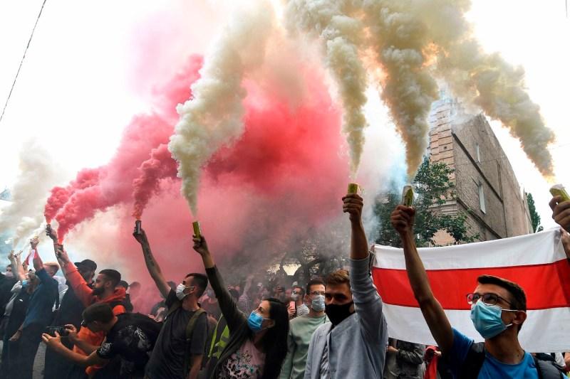 Belarusian diaspora rally in Ukraine in support of protests in Belarus.